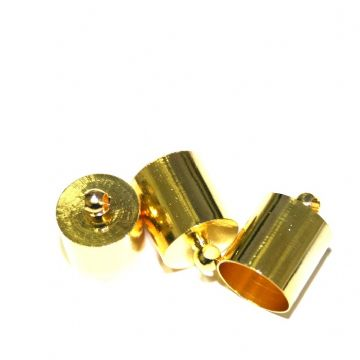 10pcs x inside measurement 7mm barrel shape end cap -- barrel shape connector- gold colour - S.F06 - 3004054